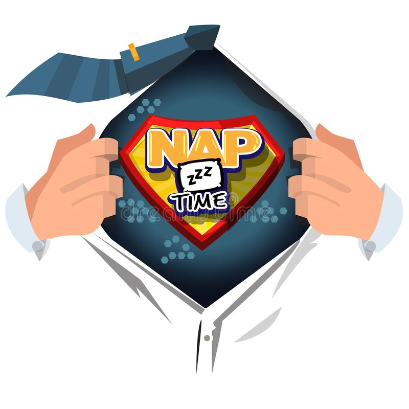 Man open shirt to show `nap time` logotype on comic style - vector. Illustration vector illustration