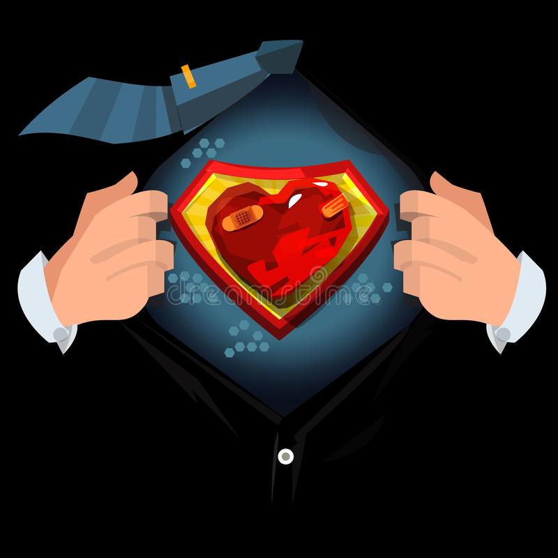 Man open shirt to show `Painful or hurt heart ` in cartoon style. Broken heart concept - vector royalty free illustration