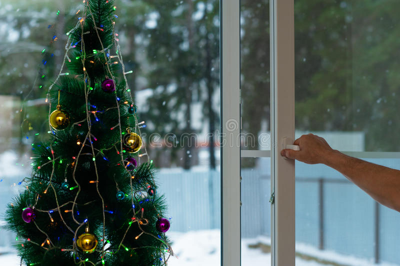 Man opens Christmas window. With mosquito net royalty free stock image