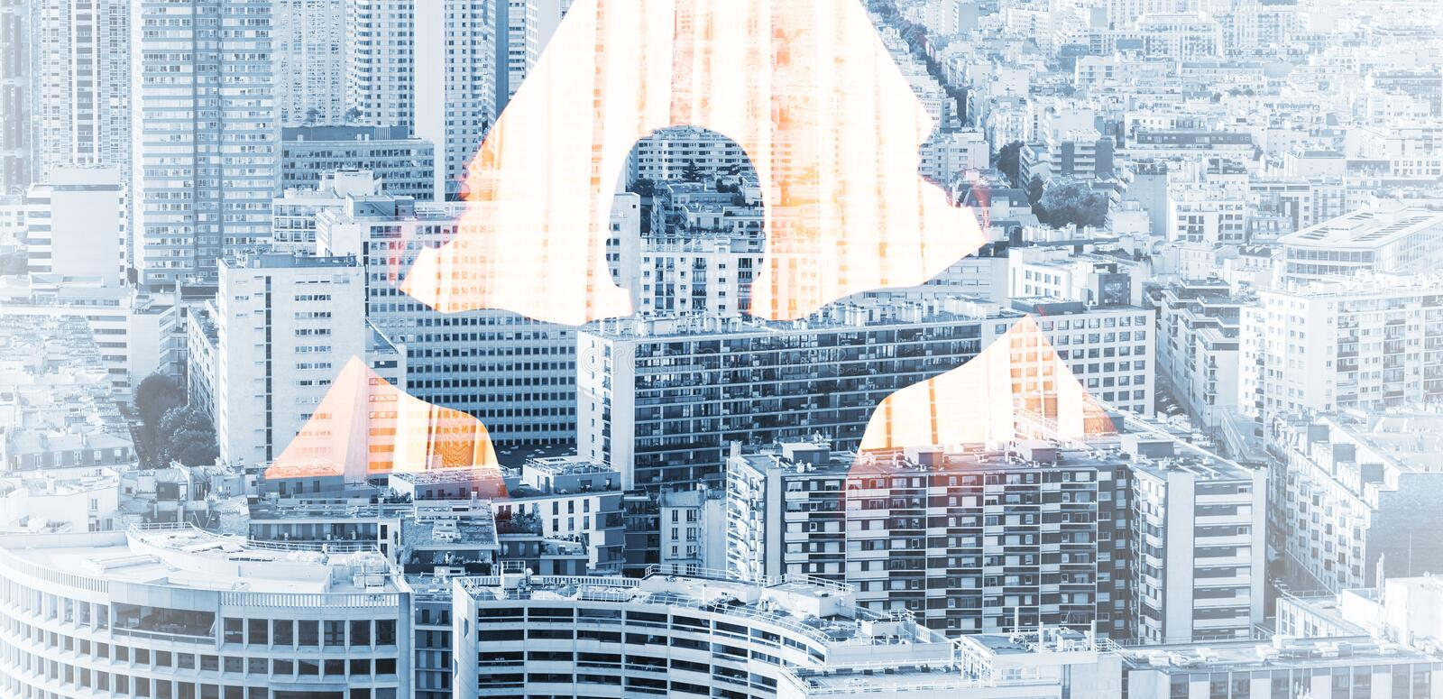 Man opens curtains and big cityscape background royalty free stock image