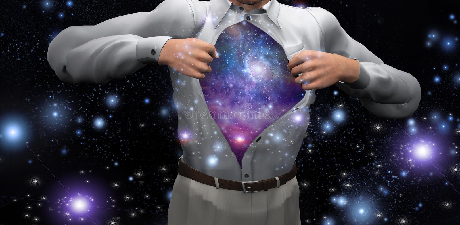 Man opens shirt to reveal the galaxies. 3D rendering. Some elements image credit NASA royalty free illustration