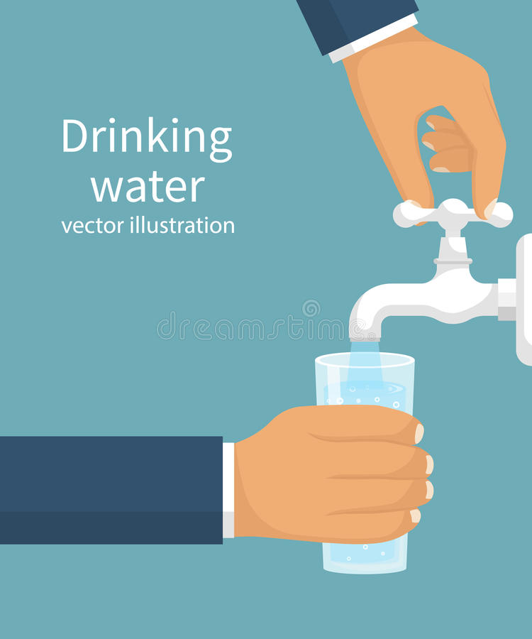 Man opens a water tap with hand holding a glass stock illustration