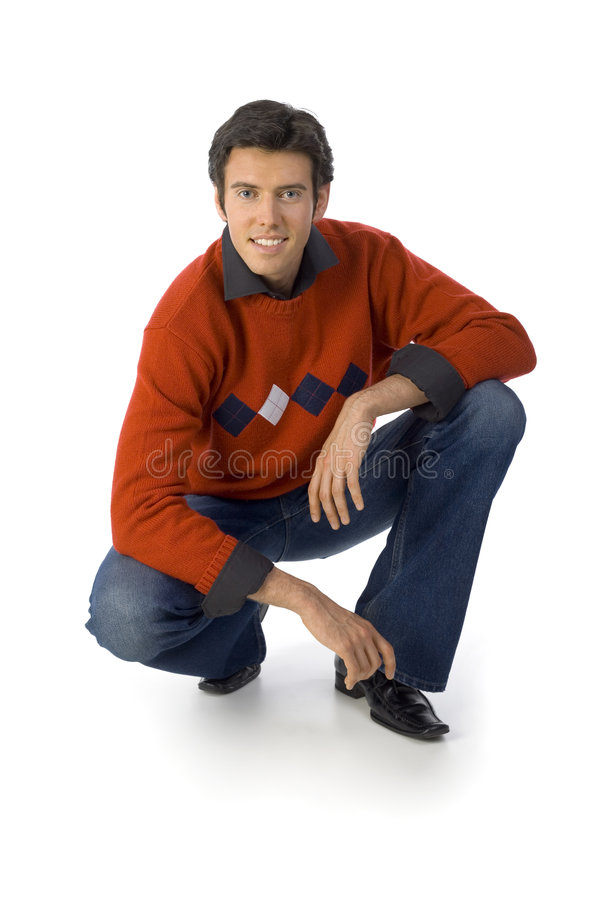 Man in orange jersey stock photo