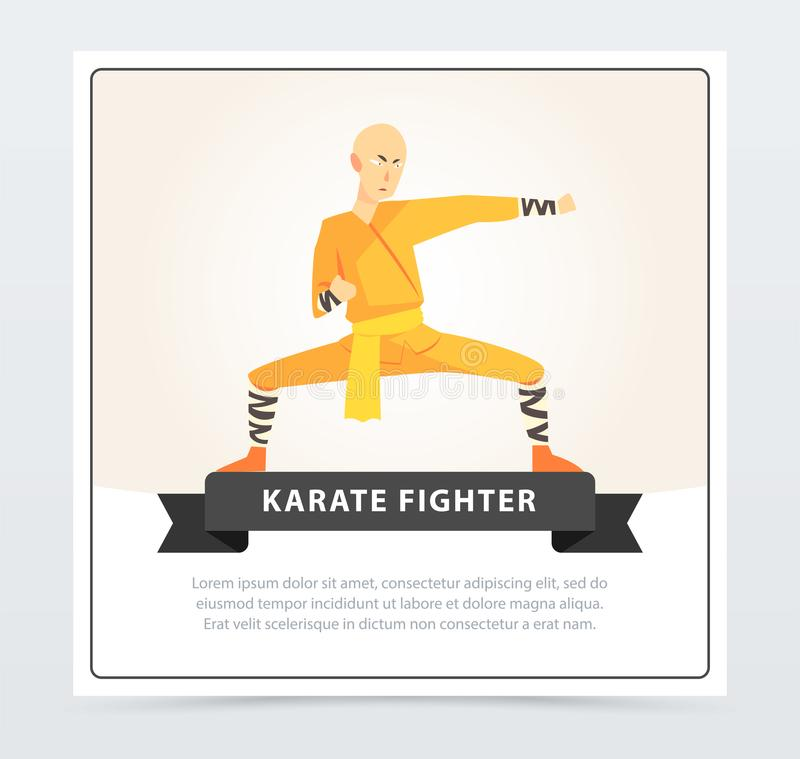 Karate Fighter In Kimono Doing Kick, Male Athlete Character In