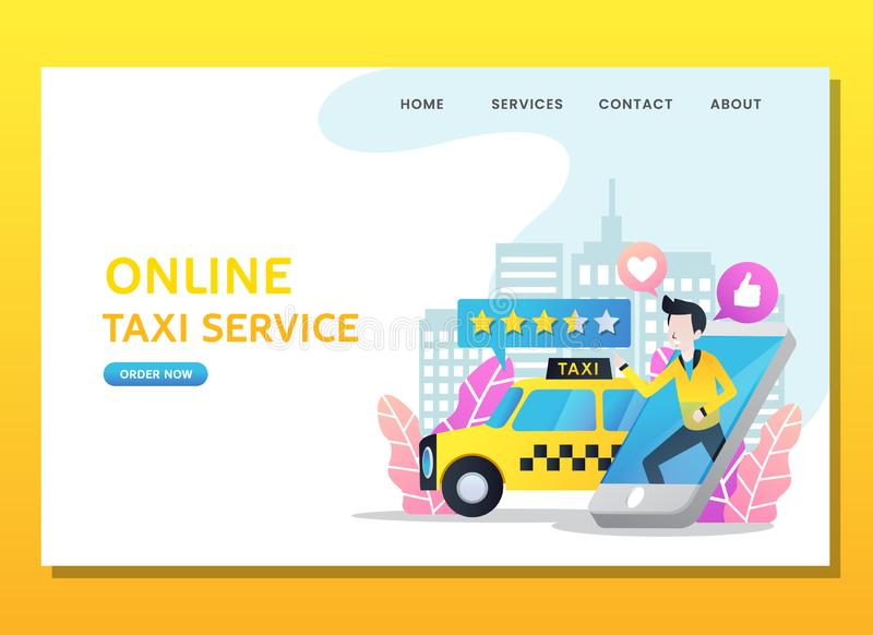 Man order online taxi with phone stock illustration