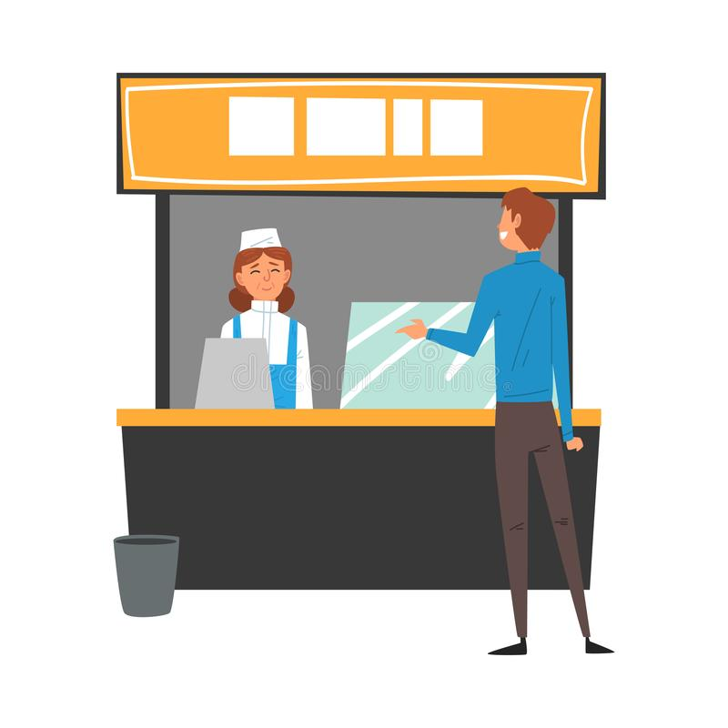 Man Ordering and Buying Fast Food and Drinks in Food Court in Shopping Mall Vector Illustration. On White Background vector illustration