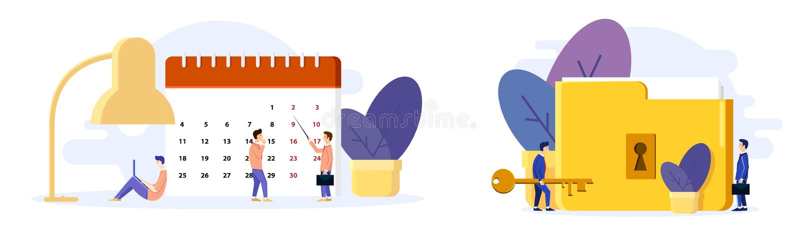 Man organizes his day. Builds plans on the calendar. Working on notebook. Big lamp. Concept in flat style stock illustration