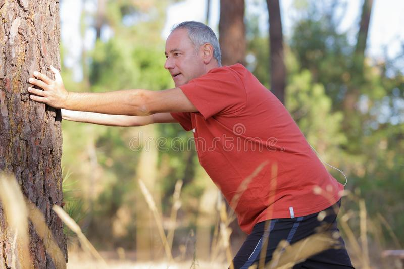 Man out exercising stretching against tree. Man out exercising stretching against a tree stock image