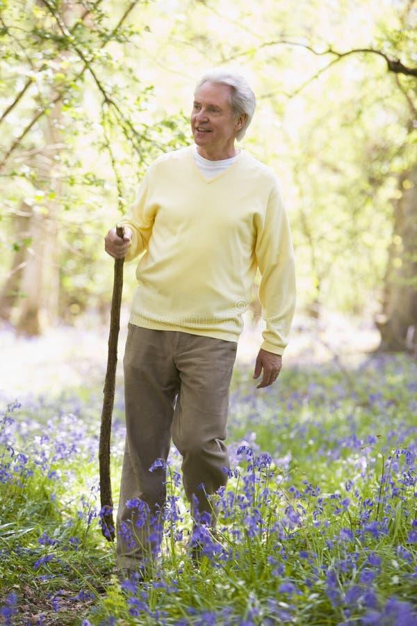 man outdoors smiling stick walking στοκ εικόνες