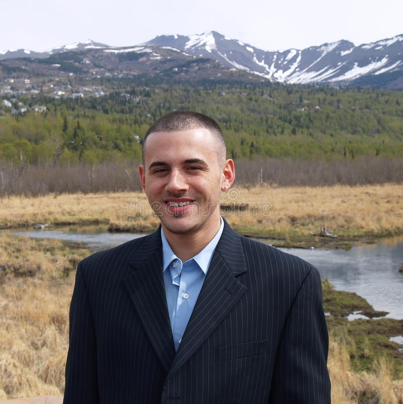 Man outdoors in suit