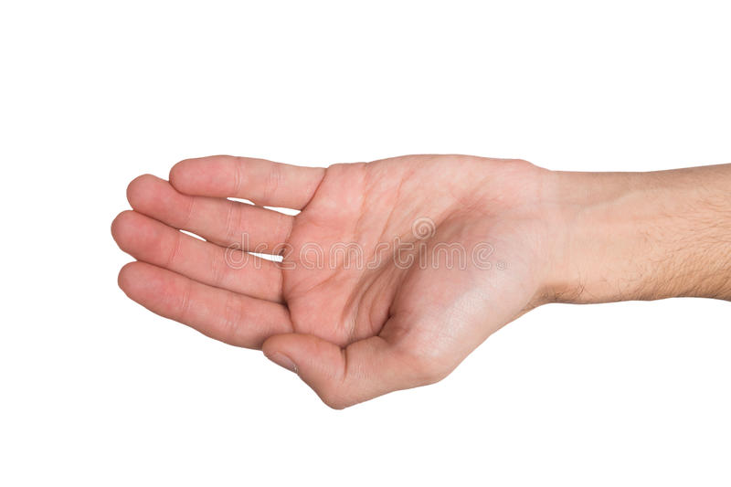 Man outstretched open hand, top view, isolated. Hand gestures. Person keep palm opened, outstretched with begging or offering, isolated white background, top stock photo