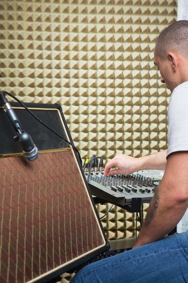 Download Man over mixer board stock image. Image of closeup, guitar - 24978663
