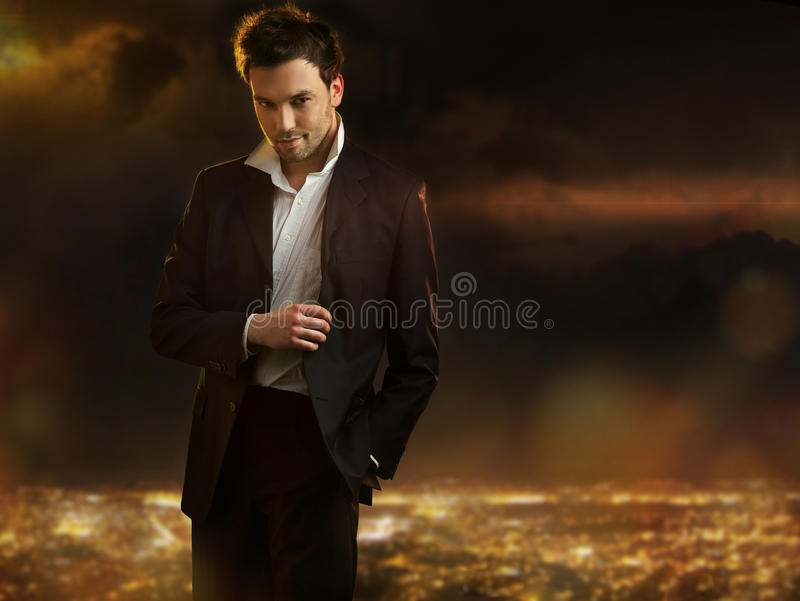 Man over night city background royalty free stock photography