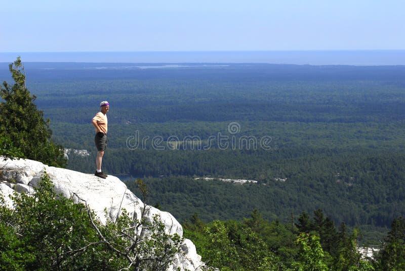 Man Overlooking Killarney Provincial Park royalty free stock photography