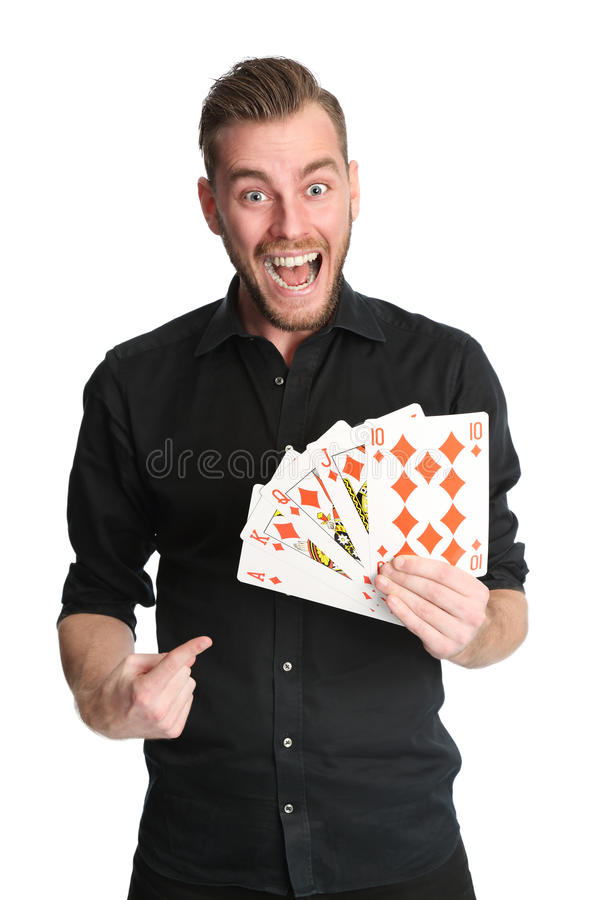 Man with oversized playing cards royalty free stock photo