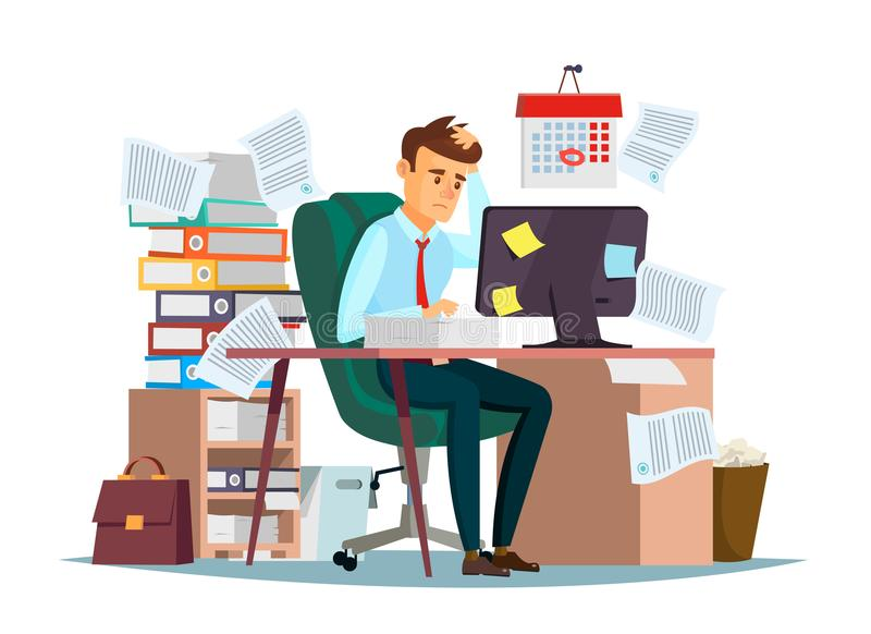 Man overwork in office vector illustration of cartoon manager sitting at computer desk working frustrated in stress. Man overwork in office, deadline vector vector illustration