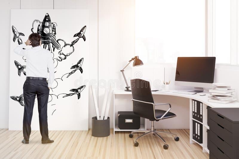 Man på en arbetsplats med den svarta garderoben stock illustrationer