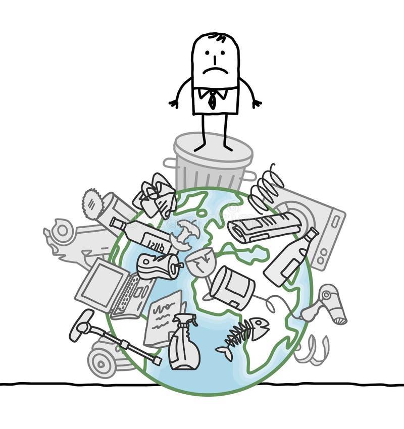 Man på en förorenad värld royaltyfri illustrationer