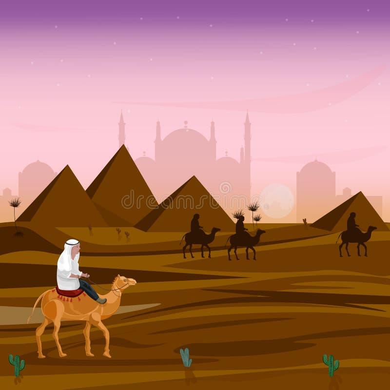 Man på en kamel på solnedgången i Egypten ökenvektor Illustrationer för loppkorttecknad film royaltyfri illustrationer