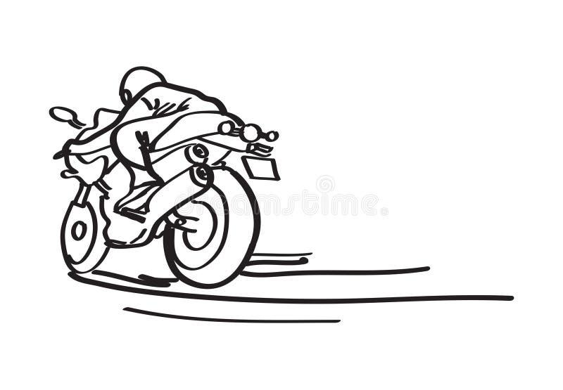 Man på en motorcykel som målas med en enkel svart linje stock illustrationer
