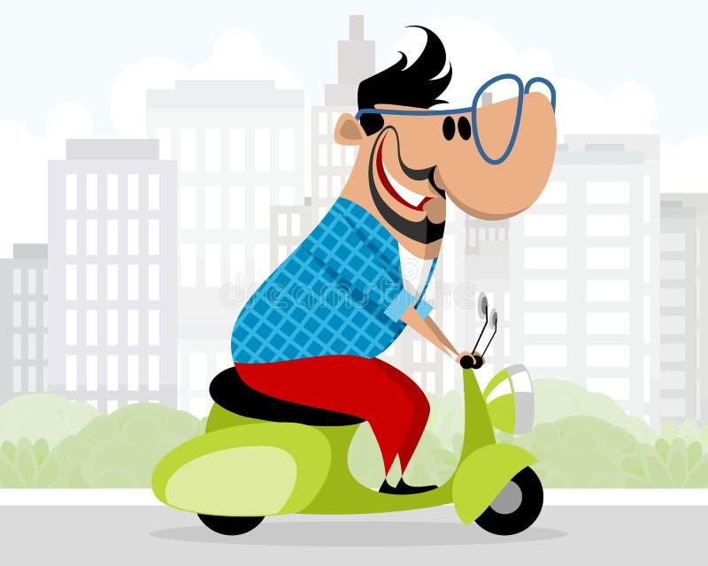 Man på en sparkcykel stock illustrationer