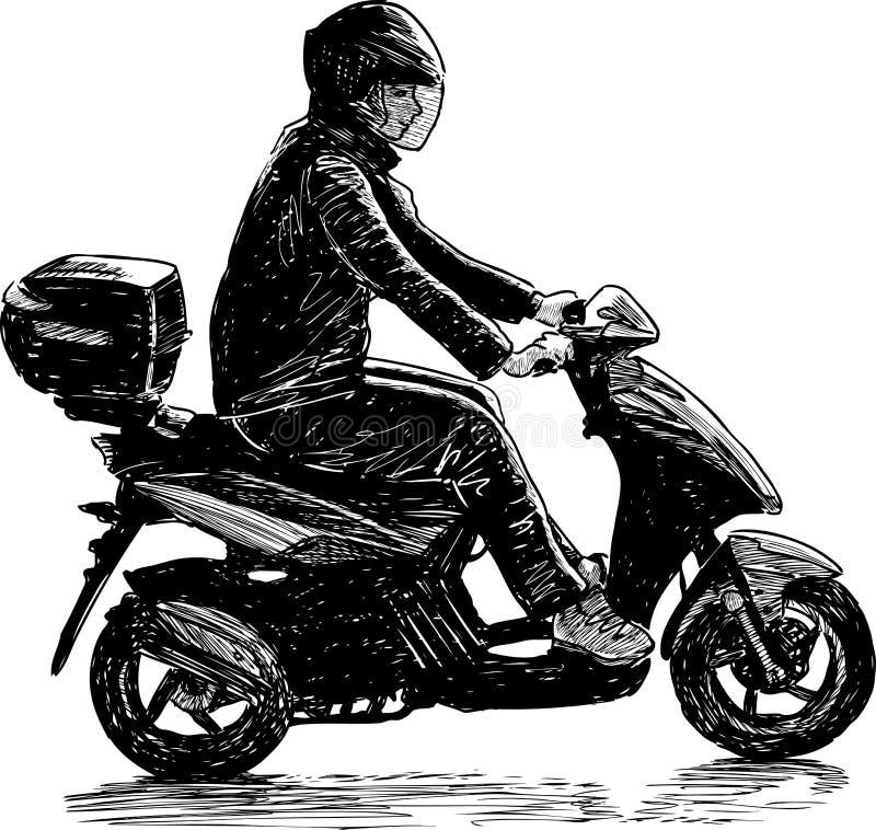 Man på en sparkcykel vektor illustrationer