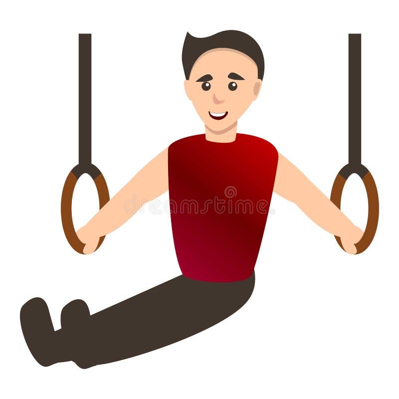 Man på gymnastikcirklar symbol, tecknad filmstil royaltyfri illustrationer
