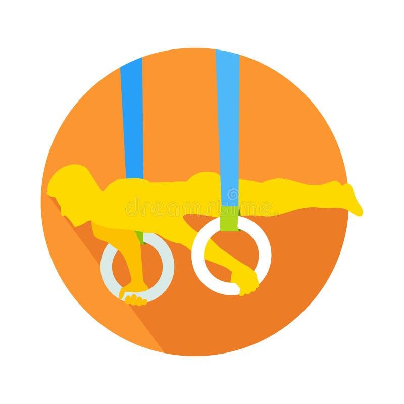 Man på gymnastisk vektor för idrottsman för cirkelrengöringsdukknapp stock illustrationer