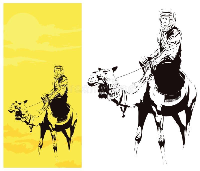 Man på kamel för illustrationorange för bakgrund ljust materiel royaltyfri illustrationer
