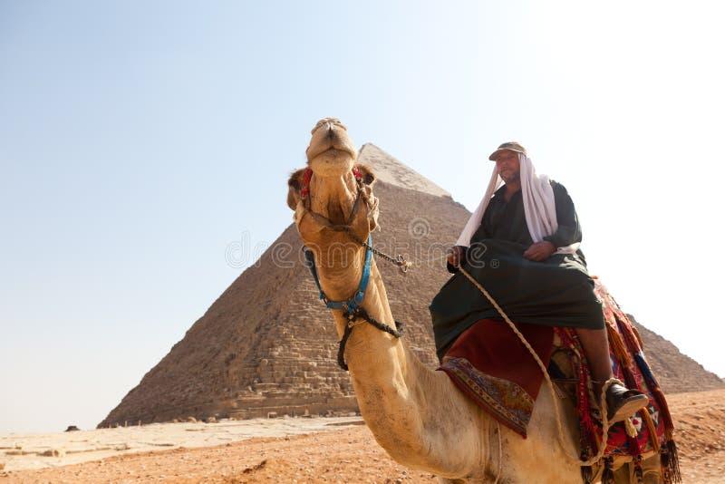Man på kamel på pyramider arkivfoto