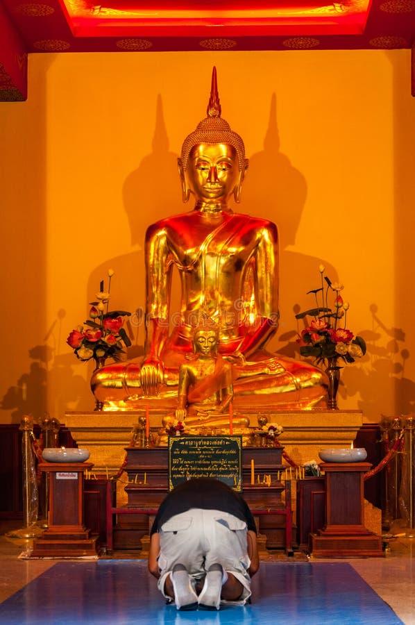 Man på knä som ber till Buddha royaltyfria foton