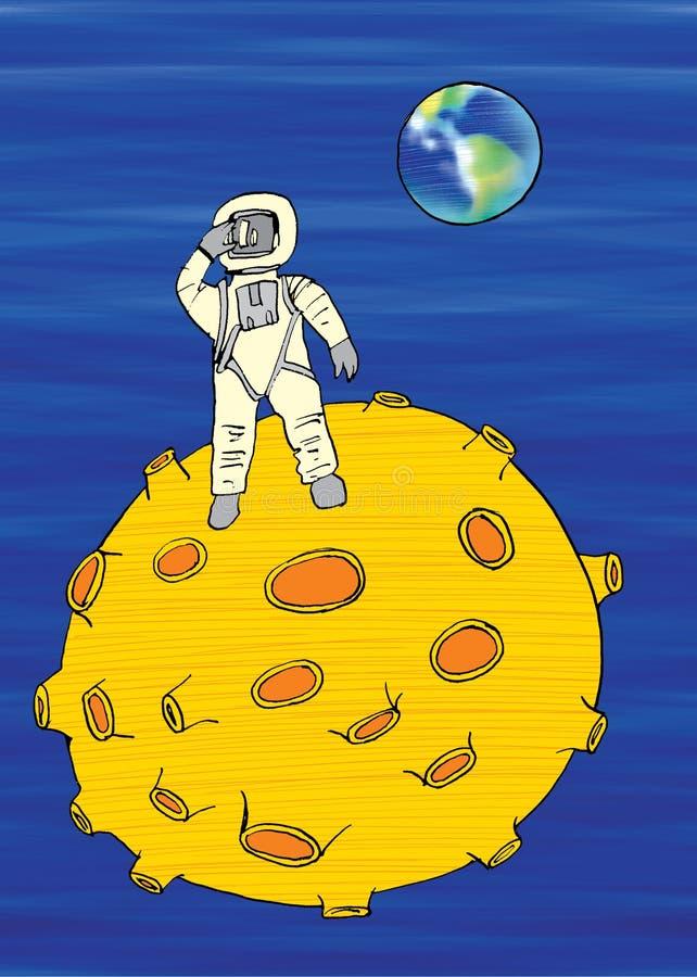 Man på månen, tecknad film royaltyfri illustrationer