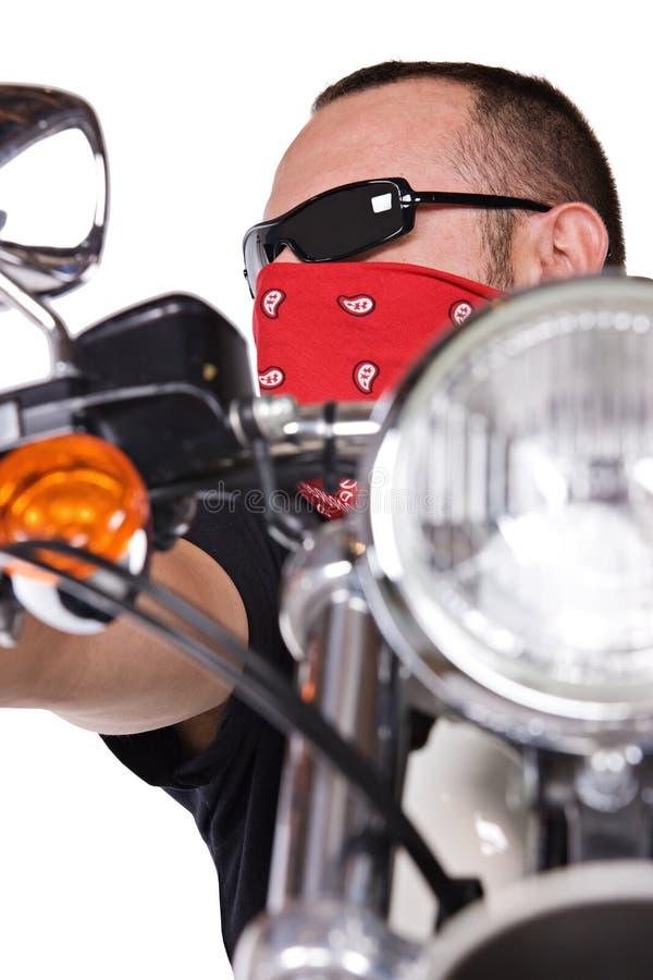 Man på motorbiken royaltyfria foton