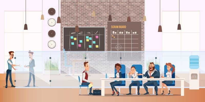 Man på process för jobbintervju i modernt kontor stock illustrationer