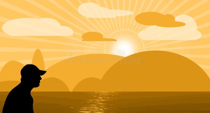 Man på solnedgången vektor illustrationer