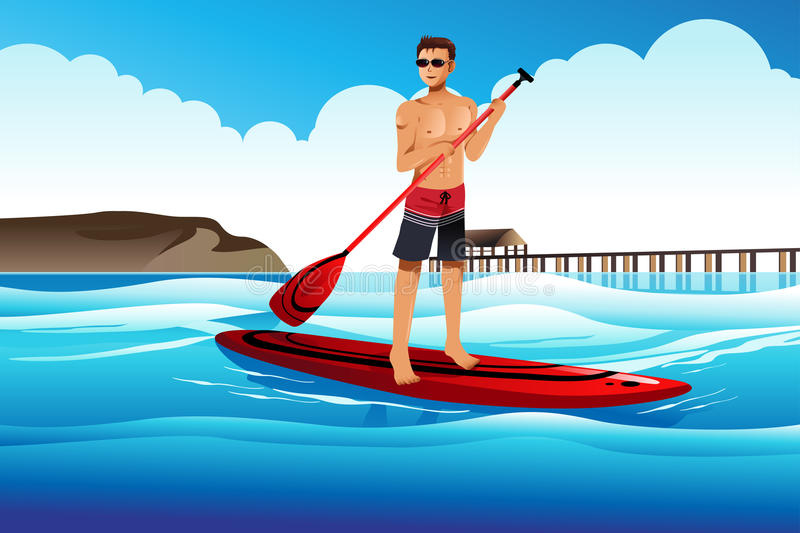 Man paddle boarding in the ocean. A vector illustration of man paddle boarding in the ocean vector illustration