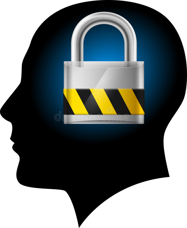 Man With Padlock In Head Royalty Free Stock Photography