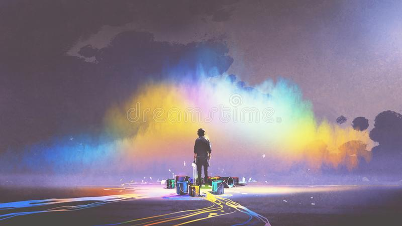Man with paint buckets stands in front of colorful cloud. Man with brush and paint buckets stands in front of colorful cloud, digital art style, illustration royalty free illustration