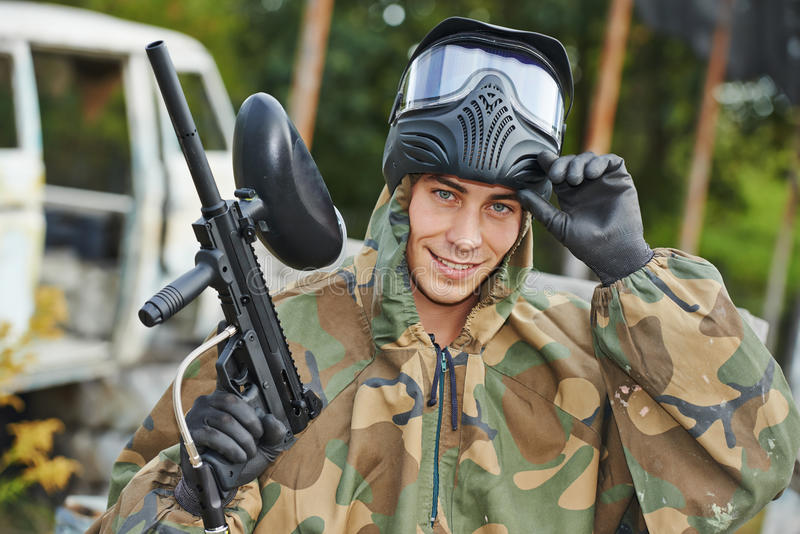Man paintball player stock photos