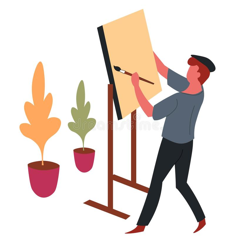 Man painter and easel with paintbrush painting hobby and art royalty free illustration