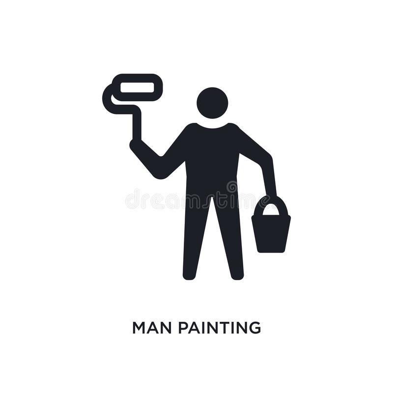 Man painting isolated icon. simple element illustration from construction concept icons. man painting editable logo sign symbol. Design on white background. can vector illustration