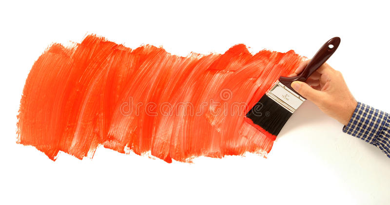 Painter And Decorator Prices >> Man Painting Red Paint On White Wall, Holding Paint Brush ...
