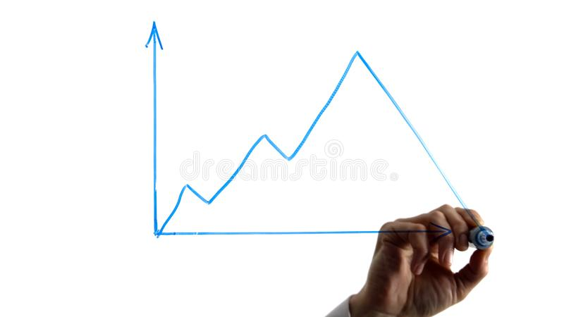 Man painting rise and fall graph, bitcoin cash price, cryptocurrency rate royalty free stock images