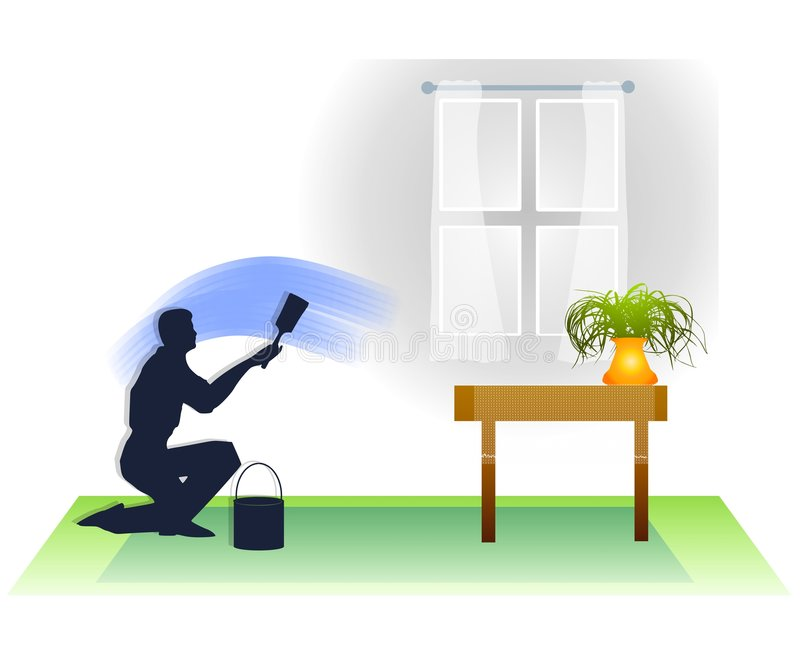 Man Painting Room in House royalty free illustration