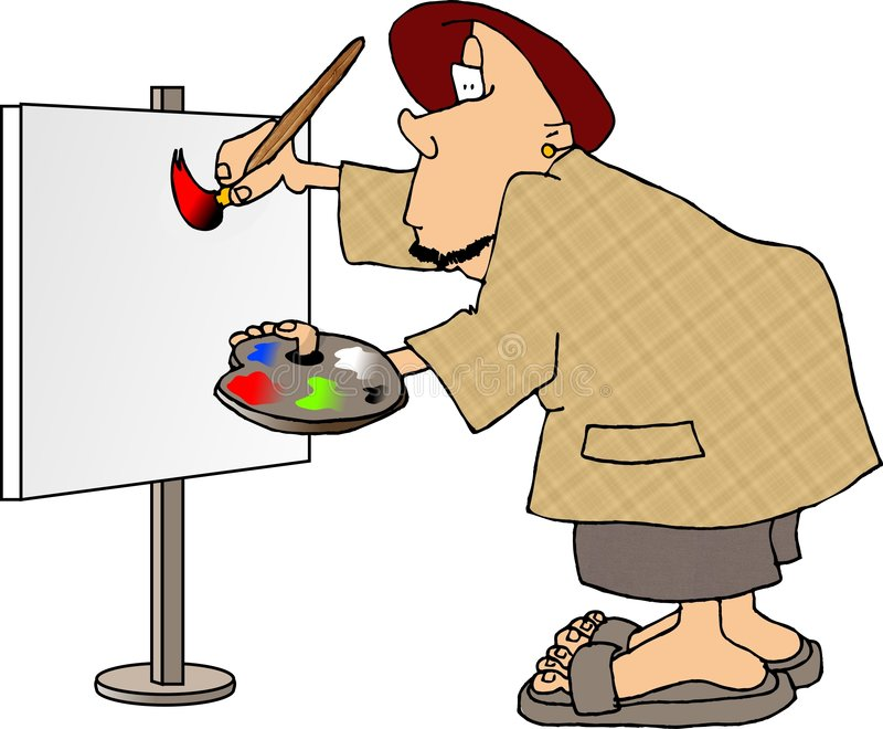 Download Man painting a sign stock illustration. Illustration of white - 164931