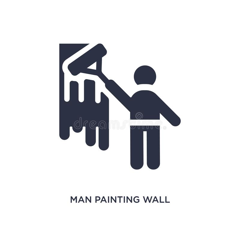 man painting wall icon on white background. Simple element illustration from behavior concept stock illustration