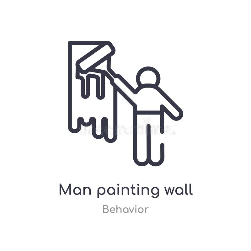 Man painting wall outline icon. isolated line vector illustration from behavior collection. editable thin stroke man painting wall. Icon on white background royalty free illustration