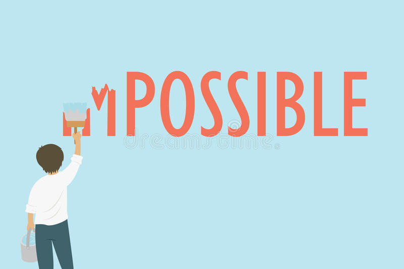 Man Painting The Word Impossible To Possible Cartoon Vector. A man painting the word impossible to possible with blue paint, motivation cartoon vector royalty free illustration