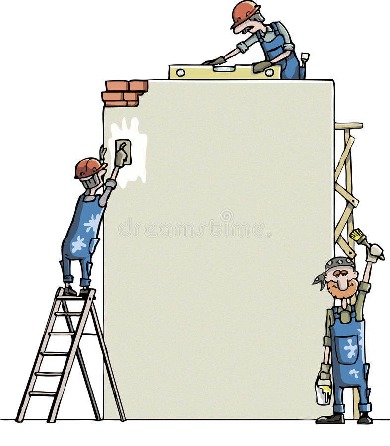 Man paints the wall stock illustration