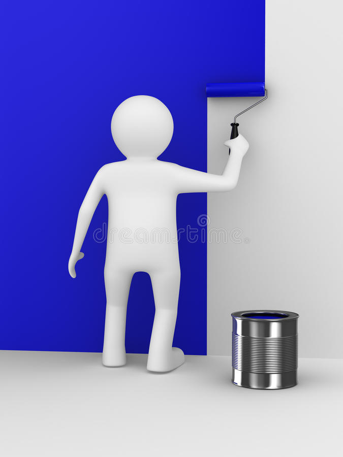 Download Man Paints Wall With Roller Brush Stock Illustration - Image: 18761983